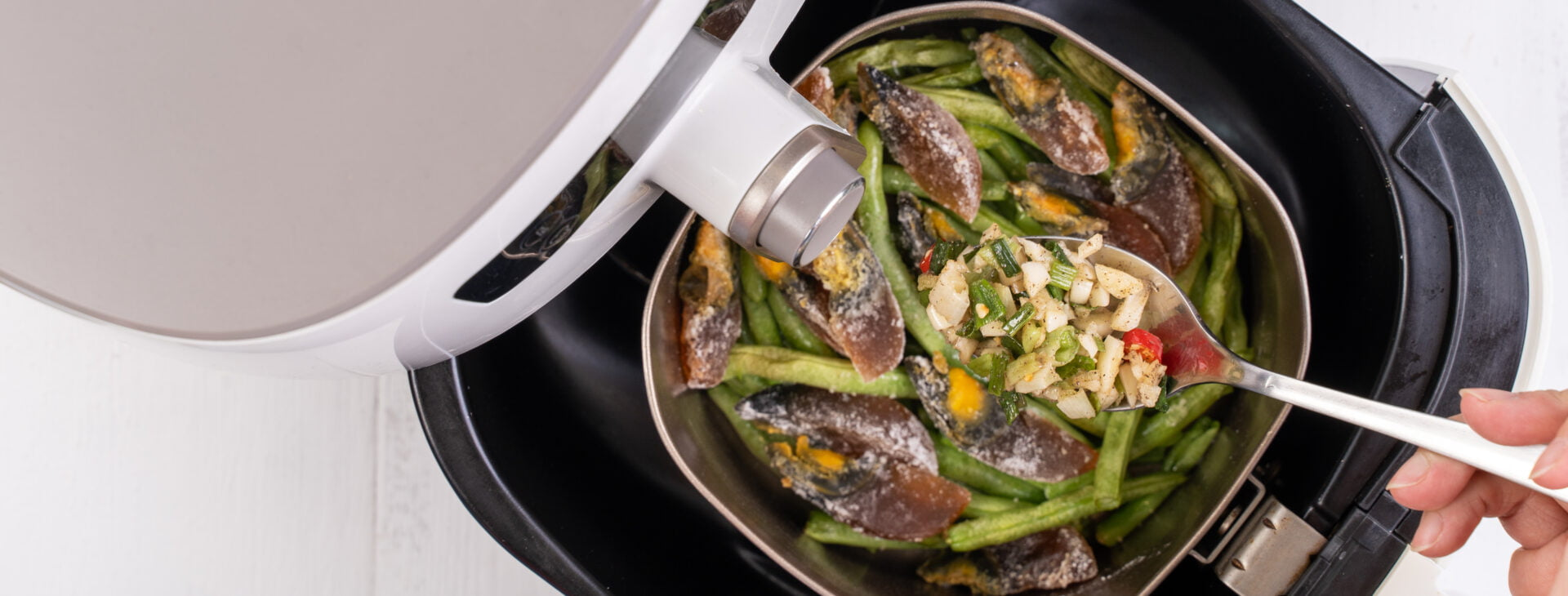 Air fryer meal, cooking green bean, pidan dishes cookery with Airfryer at home, delicious cuisine in Taiwan, Asia, Asian Taiwanese food