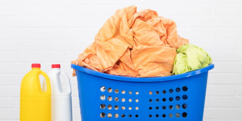 laundry basket with cleaning products