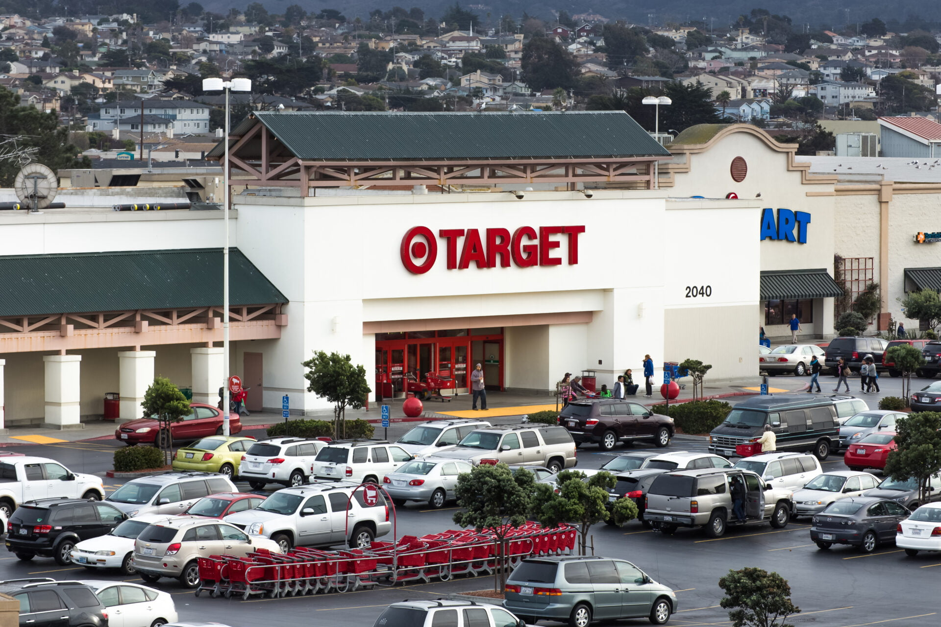 Target super store with large parking lot