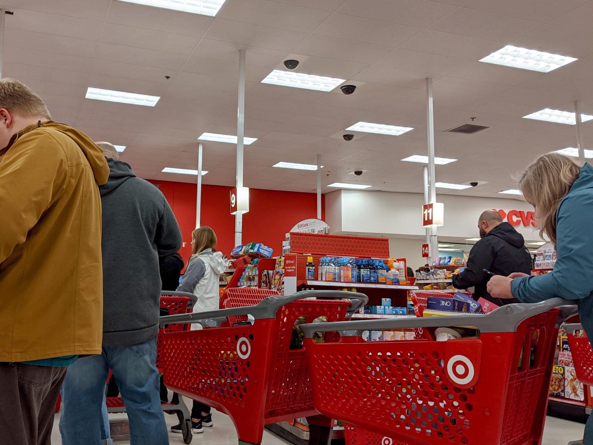 People waiting in line in Target