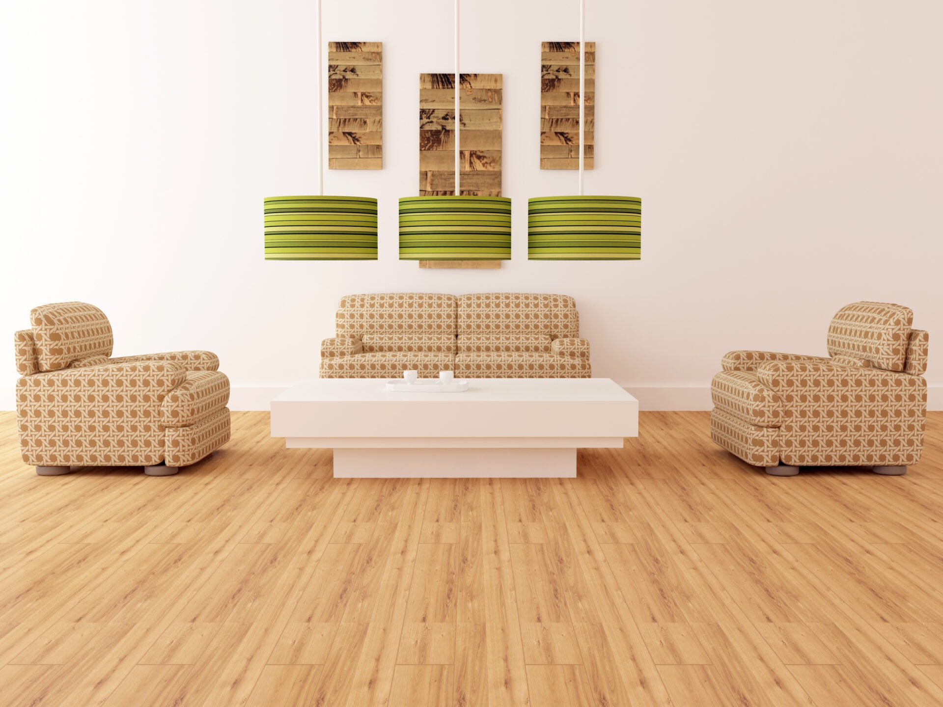 elegant modern living room, brown armchairs with lamps, coffee table & bamboo flooring