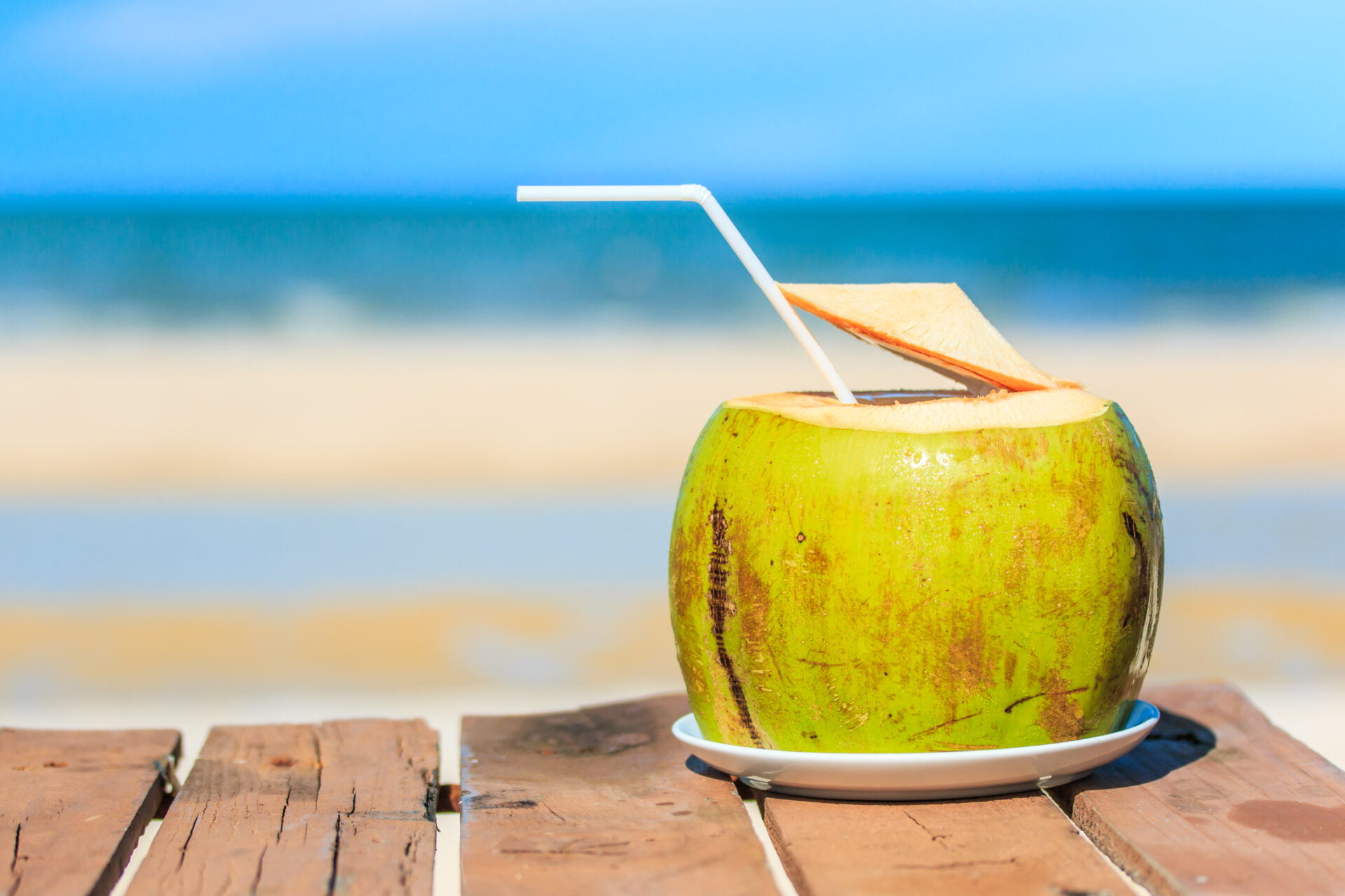 coconut water on a beach