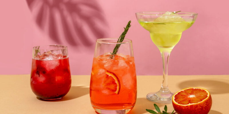 Popular summer ice alcoholic cocktails served under the summer sun light