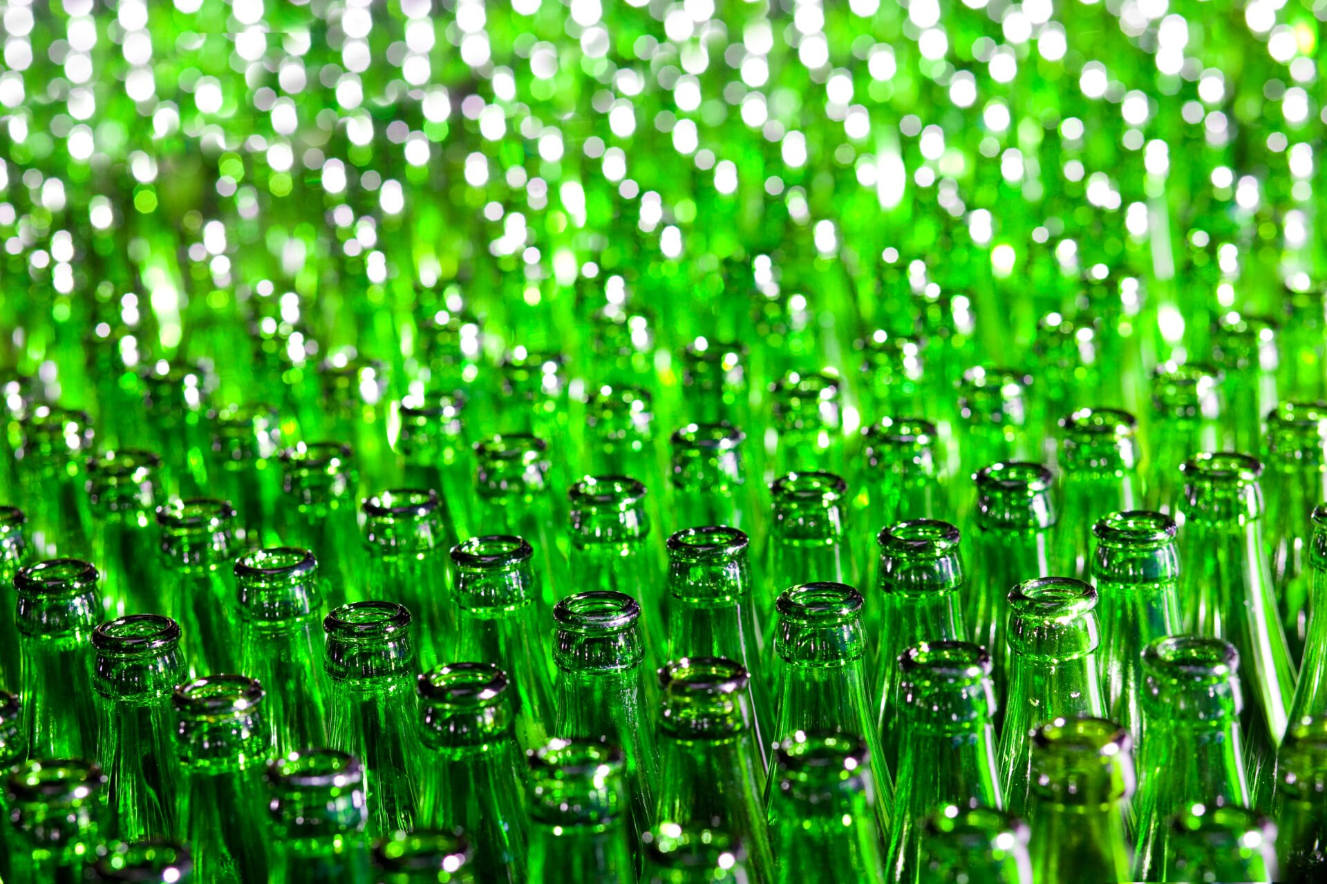 Bunch of green glass bottles