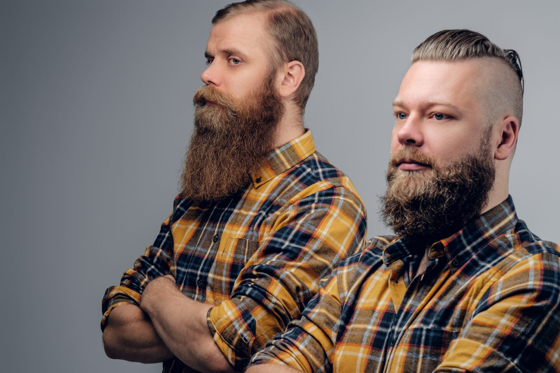 Two bearded hipsters dressed in a yellow plaid shirt isolated on grey vignette background