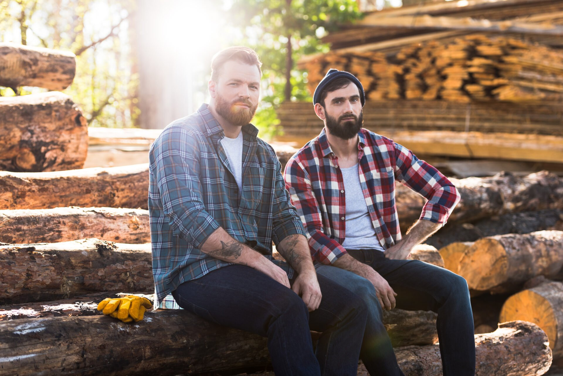 Two lumbermen in Washington State with beards