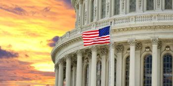 Huge view Panorama of Washington US Capitol on dramatic sunset gold
