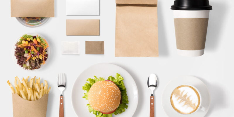 Design concept of mockup burger and coffee set isolated on white background