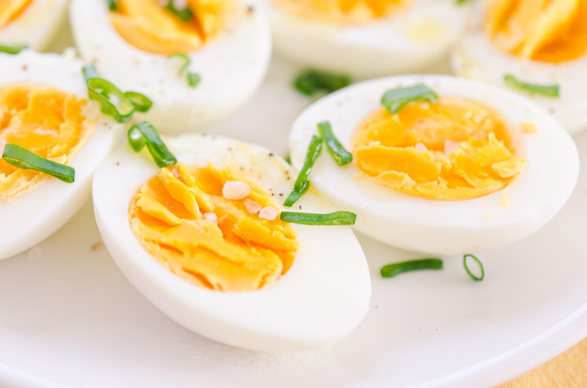 organic deviled eggs on plate